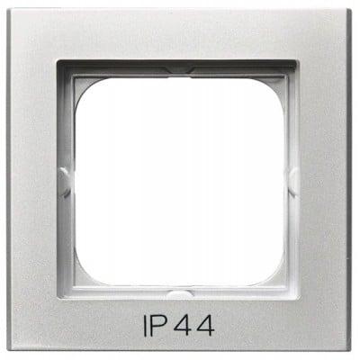 Ramka pojedyncza do łączników IP-44 SONATA SREBRO MAT