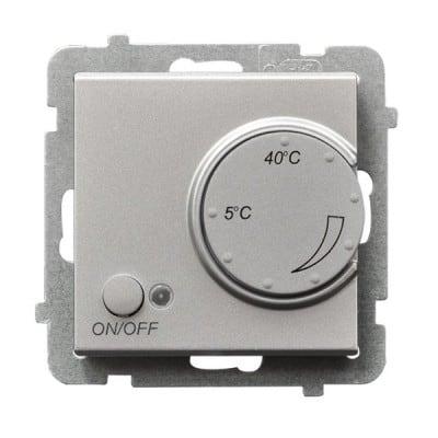 Regulator temperatury z czujnikiem podpodłogowym SONATA SREBRO MAT