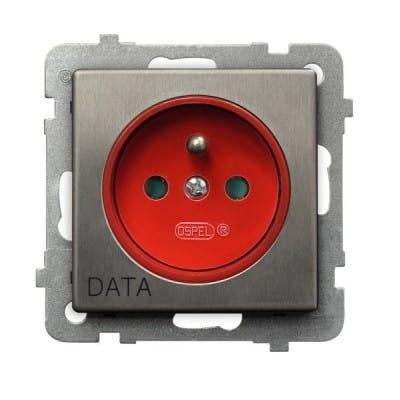 Gniazdo pojedyncze z uziemieniem DATA z przesłonami torów prądowych SONATA STAL INOX STAL INOX