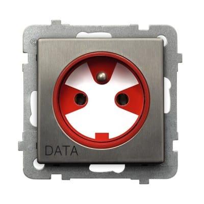 Gniazdo pojedyncze z uziemieniem DATA z kluczem uprawniającym SONATA STAL INOX STAL INOX