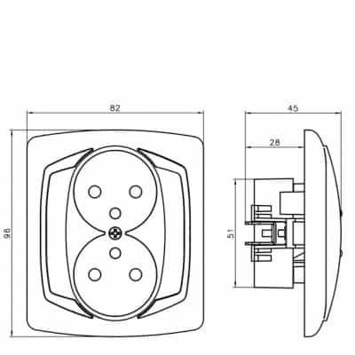 Gniazdo podwójne z uziemieniem z przesłonami torów prądowych TON SREBRO/SATYNA