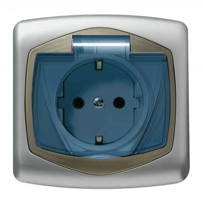 Gniazdo bryzgoszczelne z uziemieniem schuko IP-44 wieczko przezroczyste TON SREBRO/SATYNA