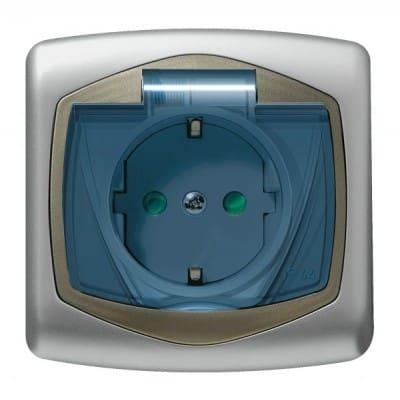 Gniazdo bryzgoszczelne z uziemieniem schuko IP-44 z przesłonami torów prądowych wieczko przezroczyste TON SREBRO/SATYNA