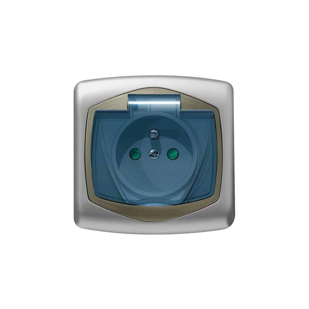 Gniazdo bryzgoszczelne z uziemieniem IP-44 z przesłonami torów prądowych wieczko przezroczyste TON SREBRO/SATYNA