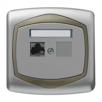 Gniazdo komputerowe pojedyncze, kat. 5e MMC TON SREBRO/SATYNA