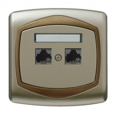 Gniazdo komputerowe podwójne, kat. 5e MMC TON SATYNA/ZŁOTO
