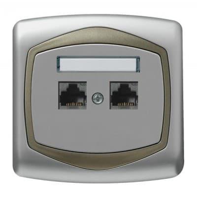Gniazdo komputerowe podwójne, kat. 5e MMC TON SREBRO/SATYNA