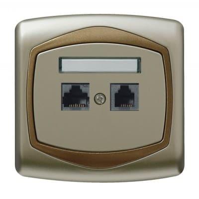 Gniazdo komputerowo-telefoniczne RJ 45 kat. 5e, (8-stykowe) + RJ 11 (4-stykowe) TON SATYNA/ZŁOTO