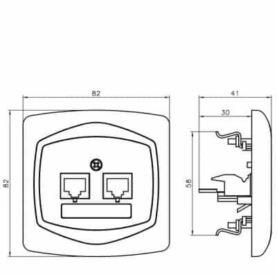 Gniazdo komputerowo-telefoniczne RJ 45 kat. 5e, (8-stykowe) + RJ 11 (4-stykowe) TON SREBRO/SATYNA