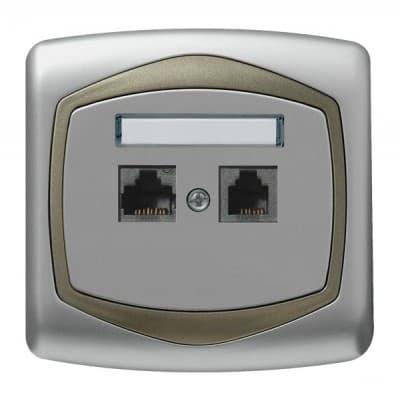 Gniazdo komputerowo-telefoniczne RJ 45 kat. 5e, (8-stykowe) + RJ 11 (6-stykowe) TON SREBRO/SATYNA