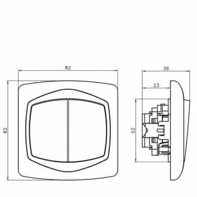 Łącznik schodowy + jednobiegunowy TON SREBRO/SATYNA