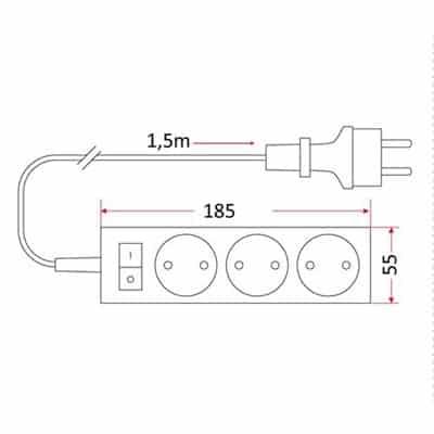 Przedłużacz mieszkaniowy/domowy 3 gniazdowy bez uziemienia z wyłącznikiem 1,5m