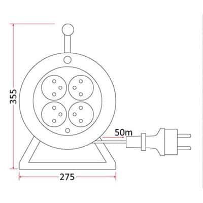 Przedłużacz bębnowy 50m szpulowy PS/4-3-50M na bębnie
