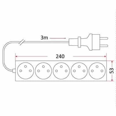 Przedłużacz mieszkaniowy 5 gniazd 3m z wyłącznikiem PM/5-3-3m+W domowy z uziemieniem