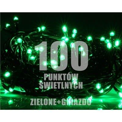 Lampki choinkowe LED wewnętrzne 100 sztuk z dodatkowym gniazdem LW-LED-100G zielone