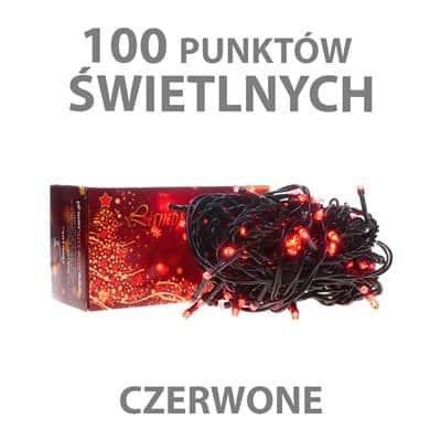 Lampki choinkowe LED wewnętrzne 100 sztuk z dodatkowym gniazdem LW-LED-100G czerwone