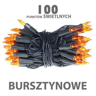 Lampki choinkowe żarówkowe 100 sztuk wewnętrzne bursztynowe/pomarańczowe