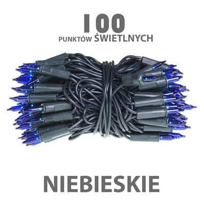 Lampki choinkowe żarówkowe 100 sztuk wewnętrzne niebieskie