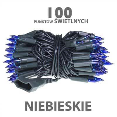 Lampki choinkowe żarówkowe 100 sztuk wewnętrzne z dodatkowym gniazdem niebieskie