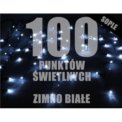 Lampki choinkowe LED zewnętrzne sople 100 sztuk z dodatkowym gniazdem LZS-LED100G białe