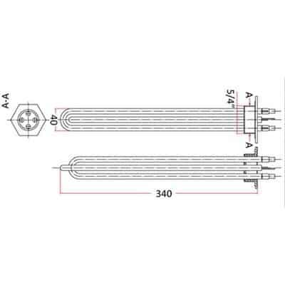 Grzałka bojlerowa 2x1400W U5/4 do bojlera termy podgrzewacza CO GRB 2x1400 U5/4