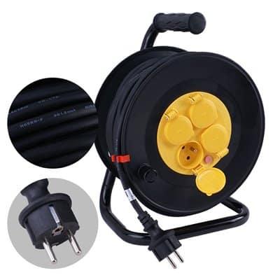 Przedłużacz szpulowy na bębnie w gumie PSG/4-3-50M 3x1,5