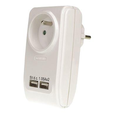 Rozgałęźnik Z-6 z uziemieniem + 2 porty USB 1-gniazdowy złodziejka