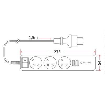 Przedłużacz mieszkaniowy 3 gniazda 1,5m z USB i z wyłącznikiem PM/3-3-1,5+W+2xUSB domowy z uziemieniem