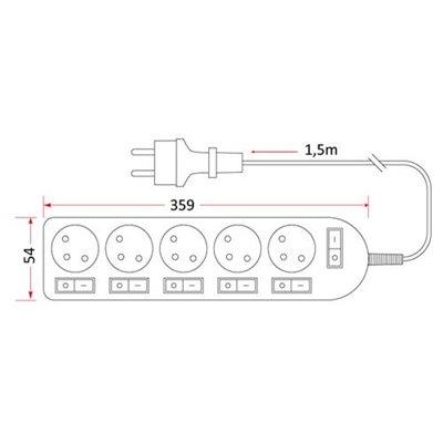 Przedłużacz mieszkaniowy 5 gniazd z uziemieniem 1,5m z 6 wyłącznikami PM/5-3-1,5+6W