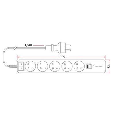 Przedłużacz mieszkaniowy 5 gniazd z uziemieniem 1,5m z wyłącznikiem +2 porty USB PM/5-3-1,5+W+2xUSB domowy