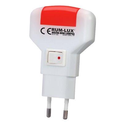 Lampka nocna mini pozioma LED czerwona LN-01-LED do gniazdka