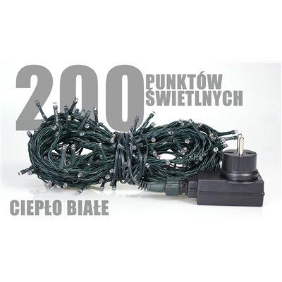 Lampki choinkowe zewnętrzne 200 szt. LED ciepło białe LZ-ECO-LED-200 CB
