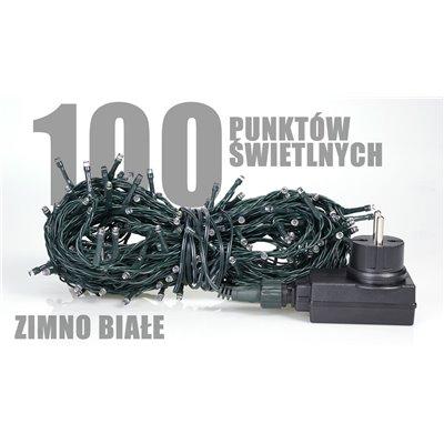 Lampki choinkowe z programatorem 100 szt LED zewnętrzne zimno białe LZ-ECO-LED-100 ZB + programator