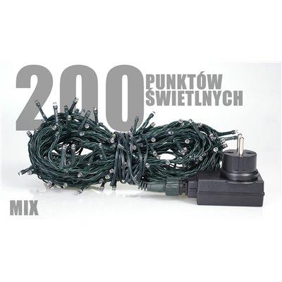 Lampki choinkowe z programatorem LED 200 szt mix zewnętrzne LZ-ECO-LED-200 mix + programator