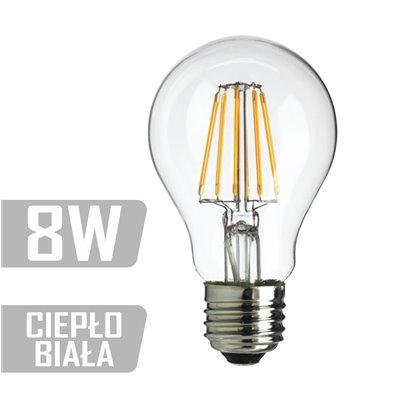 Żarówka LED E27 filament 8W  60W 800lm ciepła ozdobna EDISON