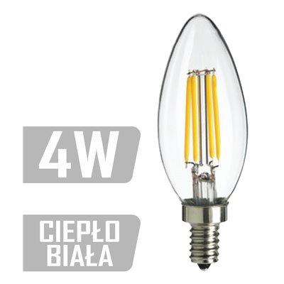Żarówka LED E14 filament 4W  35W 400lm ciepła ozdobna LED-CAN-FL-4W-E14 CB