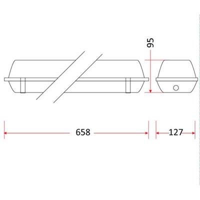 Oprawa przemysłowa P-218 do LED hermetyczna 2x60 cm 18W