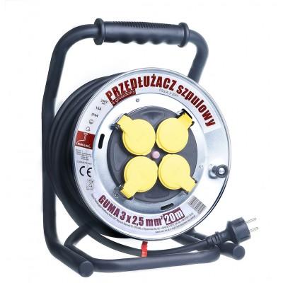 Przedłużacz szpulowy bębnowy 20m guma PSG/4-3-20mmetalowy bęben 3x2,5