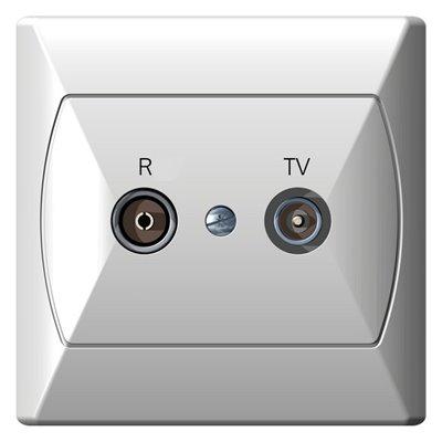 Gniazdo RTV przelotowe 10-dB AKCENT BIAŁY