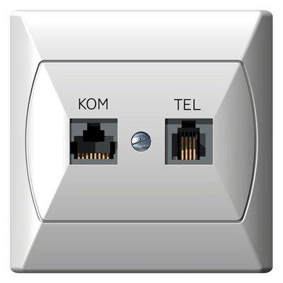 Gniazdo komputerowo-telefoniczne RJ 45 kat. 5e, (8-stykowe) + RJ 11 (4-stykowe) AKCENT BIAŁY