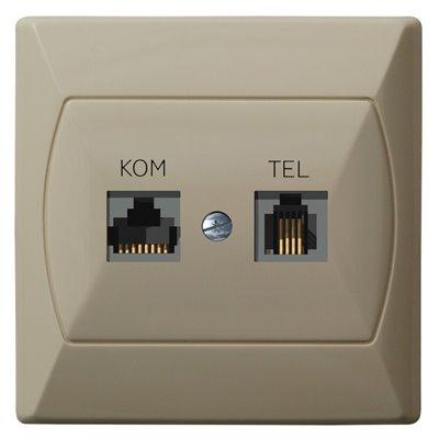 Gniazdo komputerowo-telefoniczne RJ 45 kat. 5e, (8-stykowe) + RJ 11 (4-stykowe) AKCENT BEŻOWY