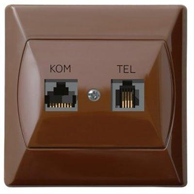 Gniazdo komputerowo-telefoniczne RJ 45 kat. 5e, (8-stykowe) + RJ 11 (4-stykowe) AKCENT BRĄZOWY