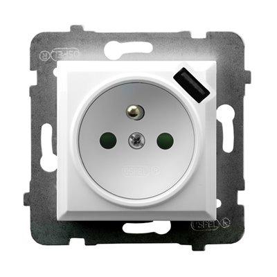 Gniazdo pojedyncze z uziemieniem z przesłonami torów prądowych, z ładowarką USB ARIA BIAŁY