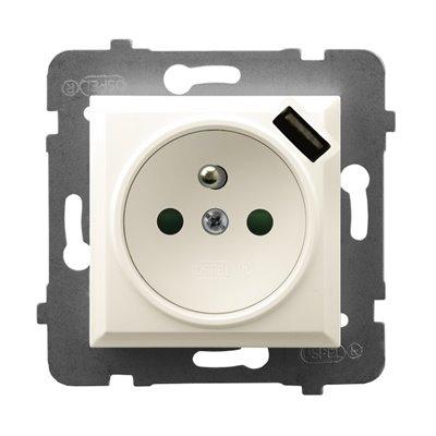 Gniazdo pojedyncze z uziemieniem z przesłonami torów prądowych, z ładowarką USB ARIA ECRU