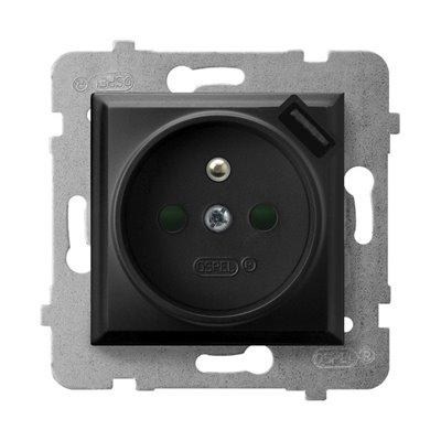 Gniazdo pojedyncze z uziemieniem z przesłonami torów prądowych, z ładowarką USB ARIA CZARNY METALIK