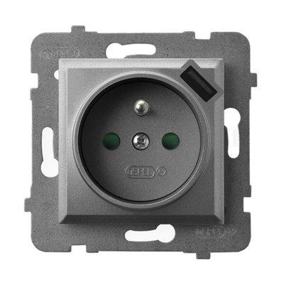 Gniazdo pojedyncze z uziemieniem z przesłonami torów prądowych, z ładowarką USB ARIA SZARY MAT