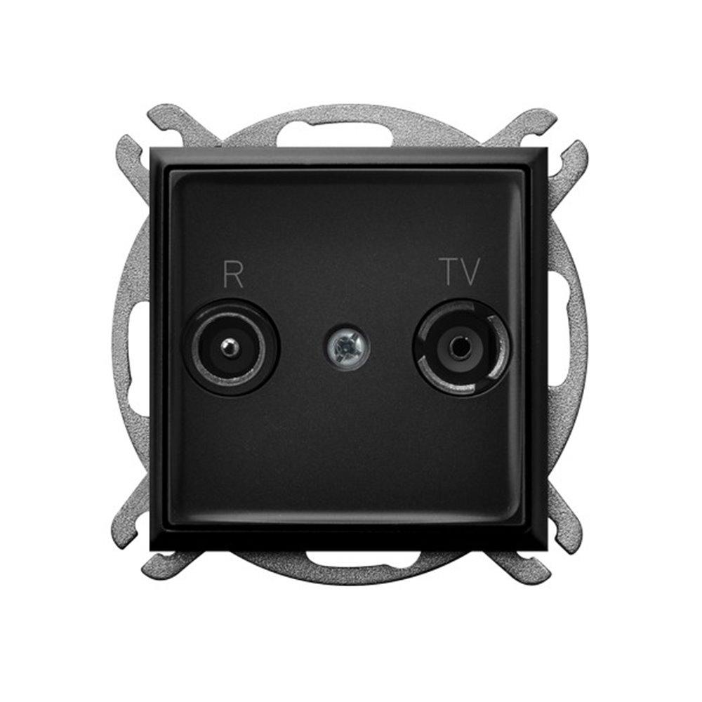 Gniazdo RTV zakończeniowe 10-dB ARIA CZARNY METALIK