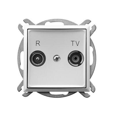 Gniazdo RTV przelotowe 16-dB ARIA BIAŁY