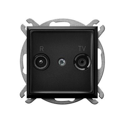 Gniazdo RTV przelotowe 16-dB ARIA CZARNY METALIK