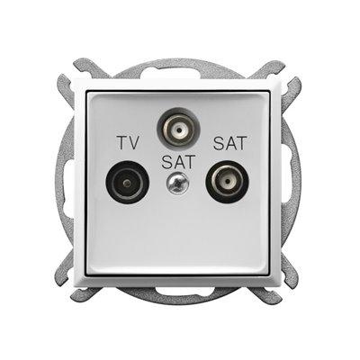 Gniazdo RTV-SAT z dwoma wyjściami SAT ARIA BIAŁY
